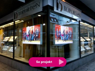 Foto på digital signage skärmar på Boporten
