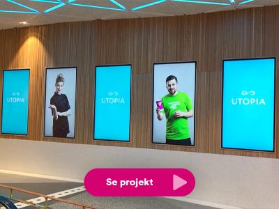 Stillbild från vägg med LED-skärmar på Utopia